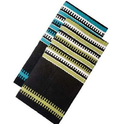 SADDLE BLANKET,BLACK-TURQ/LIME